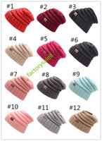 Unisex CC 17color Trendy Hats Winter Knitted Beanie Label Wi...