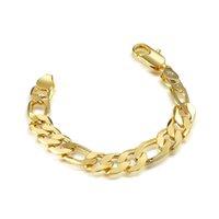 """مجوهرات كلاسيكية للرجال - طول 18 قيراط سوار فيجارو مطلي بالذهب الأصفر عرض 12 مم 8 """"طول"""