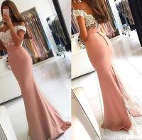 2021 섹시한 무료 배송 여성 레이스 숄더 끄기 정식 먼지가 많은 핑크 인어 드레스 드레스 드레스 착용 긴 사우디 아라비아 저렴한 파티 댄스 파티 드레스