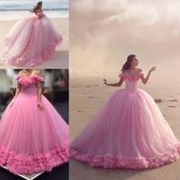 Imágenes reales cliente muestran pantalones de bolas rosadas quinceanera vestidos flores hechas a mano de hombro con volantes Sweet 16 Vestido Tulle Plus Tamaño Vestidos