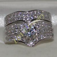Ebedi Lady'nin 925 Ayar Gümüş Yuvarlak Simüle Elmas Kalp CZ Asfalt Düğün Band Yüzük Kadınlar Için Set