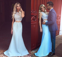 Sky Blue Two Pieces Prom Dresses Vestidos Fiesta Sheer Lace Jewel Neck Sweep Train Sheath Long Evening Prom Gowns