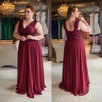 Talla grande Ocasas especiales Impresionantes vestidos de noche de encaje borgoñado V-cuello en v una línea Barato vestidos de baile Longitud del piso Vestido formal de gasa