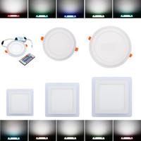 RGB بقيادة دوونلايتس 6W 9W 18W 24W اللون مزدوجة (RGB + أبيض) بقيادة سقف الأنوار لوحة الأبيض بوبي الاكريليك أدى إلى أسفل أضواء ميلان 85-265V