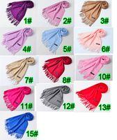 La sciarpa di filatura di colore puro delle signore della sciarpa di filatura della lana della donna di alta qualità di inverno di autunno 10PCS tiene la sciarpa calda 200 * 65cm 14colors trasporto libero
