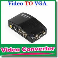 Dhl-freies verschiffen Universal PC VGA zu TV AV RCA Signal Adapter Konverter Video Schaltkasten Unterstützt NTSC PAL für computer-peripheriegeräte OM-CG8
