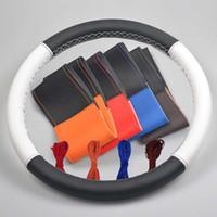 화려한 가죽 스티어링 휠 커버와 바늘 스레드, 스티어링 휠 블랙 오렌지 블루 레드 화이트 38cm에 DIY 내구성 자동차 커버