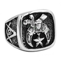 Free Shipping! New Design Masonic Biker Ring Stainless Steel...