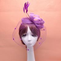Feather Fascinator Accessori per capelli Bridal Birdcage Veil Cappello da sposa Cappelli e Fascinatori a buon mercato Feminino Cabelo 4 colori