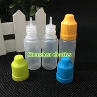 Envío rápido de gran calidad Botella suave Estilo PE aguja 10ML Botellas plásticas del cuentagotas a prueba de niños Caps LDPE Liquid E botella vacía