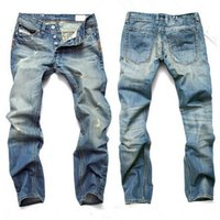 Fashion Men' s foreign trade light blue   black jeans pa...