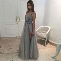 2020 robes de soirée fendues chaudes plongeant coucline cristal robe de bal de maille faite sur mesure tulle soir robe vrais images