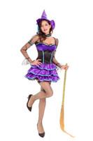 Bonito Roxo Conto De Fadas Princesa Vestido de Festa de Halloween Da Floresta Elf Bruxa Roupas Show de Palco Desempenho Traje
