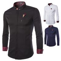 2016 nuevas camisas de vestir del estilo del invierno golpean la broche del color con el color sólido de la camisa de manga larga del negocio de los hombres de las telas de alto grado