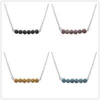 Mode Naturel 4 Couleurs Lava Pierre Collier Rock Perles Aromathérapie Huile Essentielle Diffuseur Collier Pour Les Femmes Bijoux