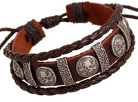 Male Cool Genuine Leather Braided Friendship Skull Bracelet ...