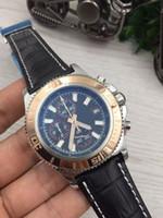 8 가지 스타일 품질 뜨거운 판매 새로운 시계 남성 superocean ii 유산 46 시계 가죽 벨트 쿼츠 크로노 그래프 시계 망 손목 시계