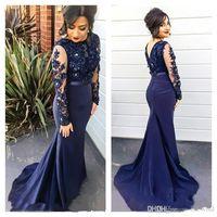 Azul marino Sheer mangas largas sirena vestidos de baile de encaje apliques sirena vestido de noche formal Vestido de madre de novia BA2728