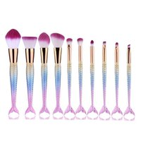 10pcs set Rainbow Mermaid Brush Makeup Brush Set Face Cream ...