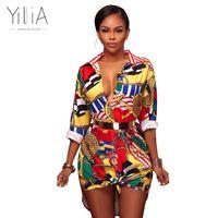 Yilia Women Dress Autumn Tunica Sexy Cool Shirt Moda stampa floreale T-shirt Casual manica lunga Vintage Boho Beach Abiti da festa q171125