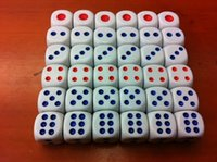 13mm 6 faces Dice Blanc D6 Rouge Point Bleu Normal Dice Bosons Bar Shaker Dices Boire Jeu Party Playing Dices # N39