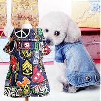 Primavera Outono Retro Jeans Pequeno Cão Roupas Jeans Casaco Pet Filhote de Cachorro Cão jaqueta pequena roupa do cão XXS XS S M L