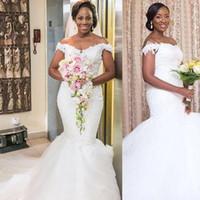 Alta calidad más el tamaño Vestido De Novia Romántico fuera del hombro apliques de encaje sirena vestido de novia blanco con cuentas de marfil Croset vestido de novia