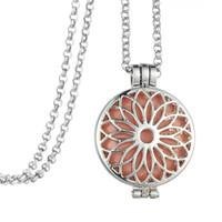 """32 """"Ling Chain Sun forma de la flor de aceite esencial Locket colgante difusor collar de aromaterapia para mujeres vestido de joyería"""