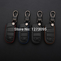 Costurado mão do couro genuíno Keychain Car para Dodge Journey 2012 2013 2014 2 botões inteligente remoto chave Tampa Anel Caso Auto Acessório