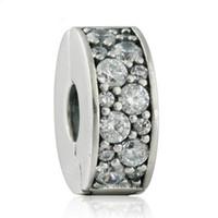 Очистить Crystal Pave Stopper Lock Clip Charm Bear Authentile 925-Стерлинг-серебристо-серебристый Деликатные Избыточные украшения DIY Fit Beads Браслет