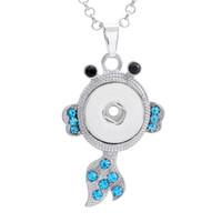 Botão liga de pressão forma de peixe com strass charme pingente para jóias marcação diy achados fit 18mm noosa pedaços