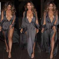 Great Sexy Grey Deep V Irregular Split Dress