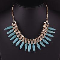 Nya kvinnor mode turkos halsband bohemiska halsband smycken choker chunky uttalande hängande kedja rhinestone fringe bib halsband