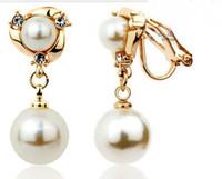 Groothandel Prijs Parel Crystal Clip-on Earring for Women, Gift Vergulde Dangle Oorbellen, Nieuwe 2013 Stijl Rose / Silver Color