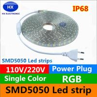 110V / 220-240V haute tension 100m de bandes de LED 5050 imperméables 10m 15m 20m 25m 25m 30m 35m 40m 45m 50m LED lumières lumières + alimentation suply