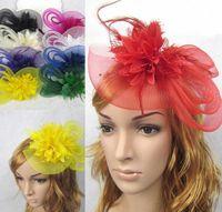Avrupa Tarzı Peçe Tüy Kadın Saç Aksesuarları Fascinator Şapka Kokteyl Parti Düğün Başlığı Mahkemesi Şapkalar Lady HJIA362