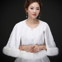 Real photos White Moden Faux Fur Wedding Jacket Warm Bridal ...