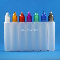 100 sets / lot 15ml UNICORN 플라스틱 Dropper 병 크리스탈 캡 Long Thin Tip 넓은 입 PE e 액체 Vapour Juice e-Liquide 15 ml