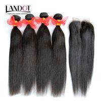 5ピースロットブラジルのストレートヒューマン髪閉鎖8A未処理のブラジルの髪織り4束4束を追加する