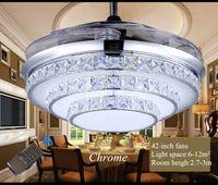 Ventilatori a soffitto a cristallo luce invisibile all'ingrosso Lampada a cristallo moderna a LED da salotto Ventilatori a soffitto con telecomando in cristallo chiaro