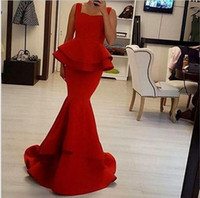 Red Spandex Mermaid Evening Dresses Elengant Ruffles Off The...