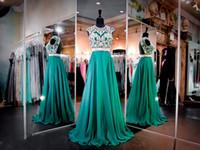 Emerald Chiffon Prom Dress 2016 Beaded High Neck en Sleutelgat Back Hot Koop Kralen Kristallen Lange Prom Jurken met Cap Mouw
