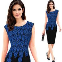 Мода плюс размер женщин фантазии карьеру платье платье повязки Bodycon кружева платье без рукавов длиной до колен платье для леди WD003