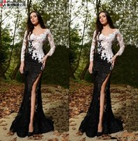 2017 Rami Salamoun See Through Lace White And Black Mermaid ...
