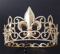 Vintage Hochzeit Königin Krone Tiara Braut Kristall Strass Kopfstück Stirnband Haarschmuck Schmuck Pageant volle Runde Crown Tall Tiara