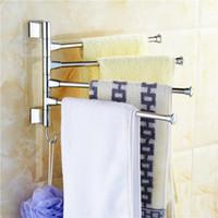 Barre à serviette en acier inoxydable Rotation porte-serviettes Salle de bains Serviette de cuisine poli Support de support de matériel Accessoire Livraison gratuite