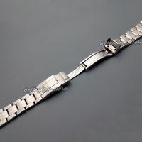 20mm Nouveau gros argent brossé en acier inoxydable fin courbé bande de montre bracelet bracelets pour montre
