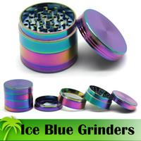 아이스 블루 그라인더 50mm 레인보우 그라인더 4 조각 분쇄기 아연 합금 소재 최고 품질의 담배 허브 향신료 분쇄기 빠른 배송