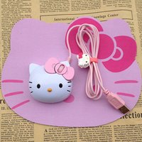 Mini Cute Hello Kitty Lights-up Mouse ottico USB Cartoon Mouse cablato Hello Kitty 1200 DPI luminoso Cat Head Mouse adorabile per computer portatili / Computer