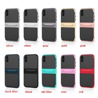 For iPhone X Case 2 in 1 Carbon Fiber Rubber Armor Case With...